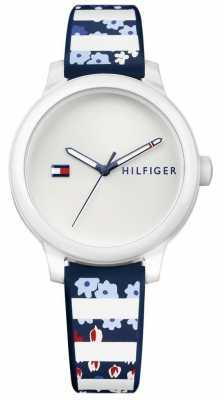 Tommy Hilfiger Womans Ashley Blue Floral Stripe Silicone Watch 1781779