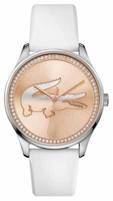 Lacoste Womans white silicone strap rose gold stone set dial 2000969