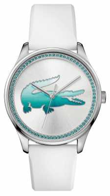 Lacoste Womans White Rubber Blue Crystal Watch 2000971