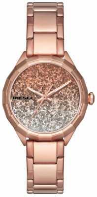 Diesel Womans Kween B Rose Gold Toned Glitter DZ5539