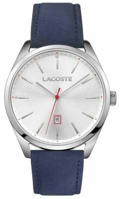 Lacoste Mens San Diego Blue Leather Strap Silver Dial 2010909