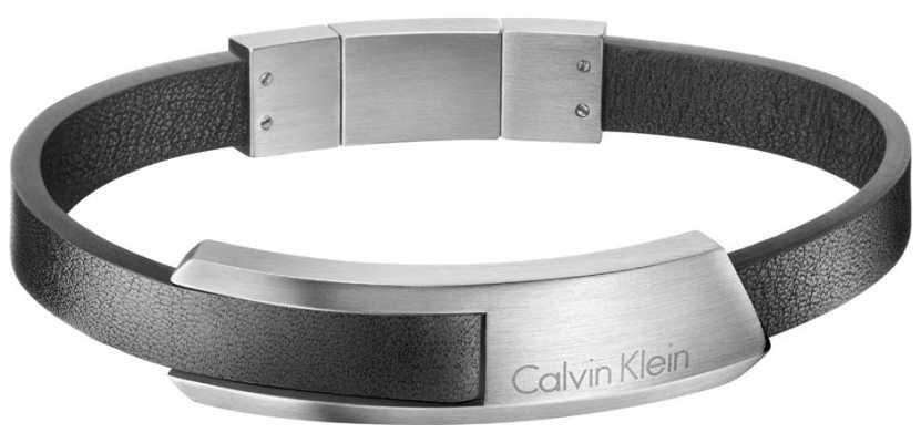 Calvin Klein Mens Bump Leather Stainless Steel Bracelet KJ4MBB090100