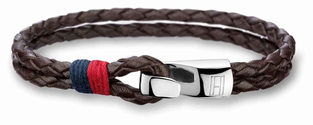Tommy Hilfiger Mens Brown Leather Stainless Steel Bracelet 2700671