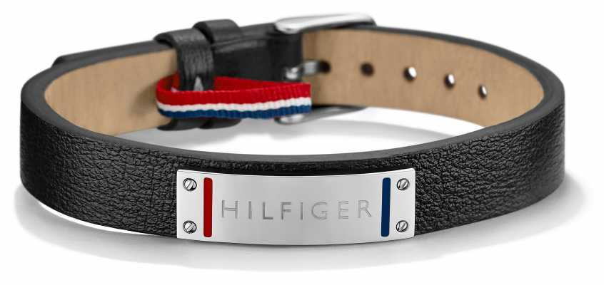 Tommy Hilfiger Mens Black Leather Stainless Steel Bracelet 2700679