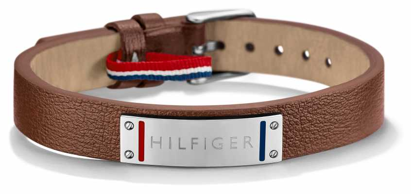 Tommy Hilfiger Mens Brown Leather Stainless Steel Bracelet 2700680