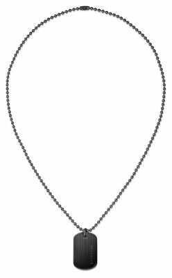 Tommy Hilfiger Mens Black Ion Plated Dog Tag Necklace 2700688