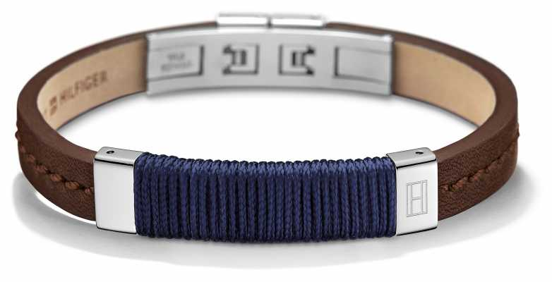 Tommy Hilfiger Mens Brown Leather Stainless Steel Bracelet 2700765