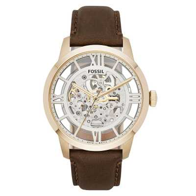 Fossil Mens Townsman Automatic Brown Leather Watch ME3043