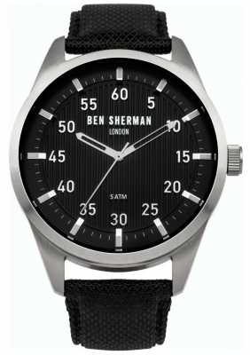 Ben Sherman Mens Black Leather Backed Strap Black Dial WB031B
