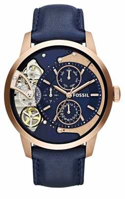 Fossil Mens Townsman Skeleton Navy Blue ME1138