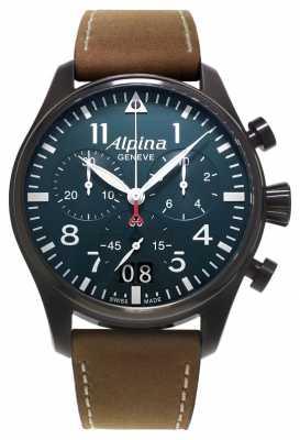 Alpina Startimer Pilot Brown Leather/Black PVD Case AL-372N4FBS6