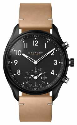 Kronaby APEX Bluetooth Black pvd case/Beige Leather Strap A1000-0730