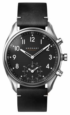 Kronaby APEX bluetooth Black Leather Strap watch A1000-1399