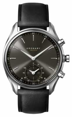 Kronaby SEKEL bluetooth black face/Black Leather Strap A1000-0718