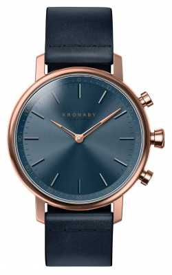 Kronaby CARAT bluetooth Rose Gold Blue Leather Strap A1000-0669