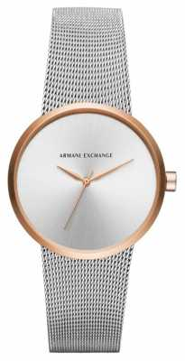 Armani Exchange Womans Urban Silver Stainless Steel Mesh AX4509