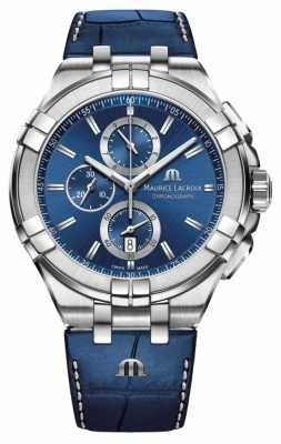 Maurice Lacroix Mens Aikon Blue Chronograph Croc Imitation Leather AI1018-SS001-430-1