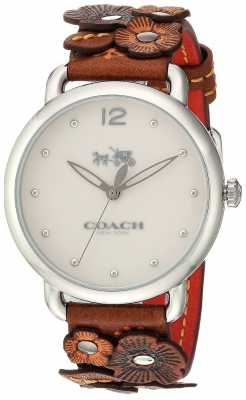 Coach Womans Delancy Watch Brown Flower Leather Strap 14502744