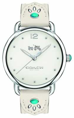 Coach Womans Delancy Watch White Leather Strap Turquoise Stones 14502702