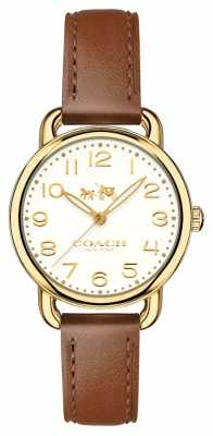 Coach Womans Delancy Watch Brown Leather Strap 14502706