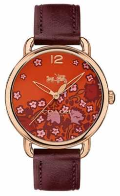 Coach Womans Delancy Watch Burgundy Leather Strap Patterned Dial 14502730