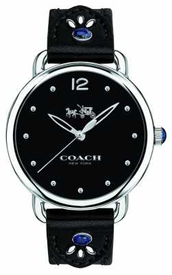 Coach Womans Delancy Watch Black Leather Strap Blue Stones 14502738