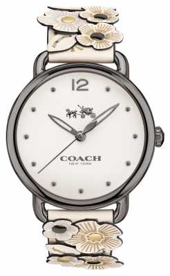 Coach Womans Delancy Watch White Flower Leather Strap 14502746
