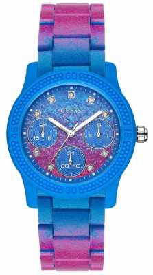 Guess Womans Funfetti Stainless Steel Pink And Blue Watch W0944L2