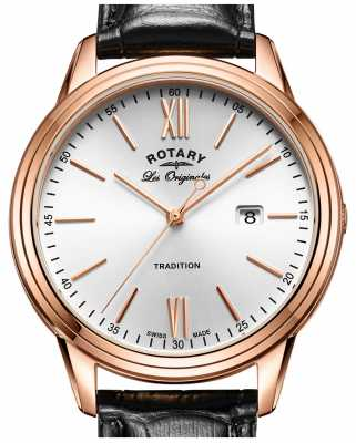 Rotary Mens Tradition Swiss Made PVD Rose Gold Leather Strap GS90196/01