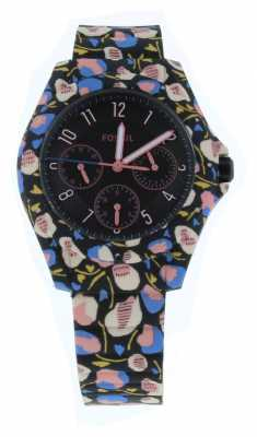 Fossil Ladies Silicone Black And Pink Flower Watch ES4242