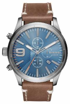 Diesel Gents Rasp Chrono Brown Leather Watch DZ4443