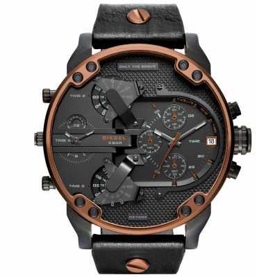 Diesel Gents Mr.daddy Black Leather Watch DZ7400