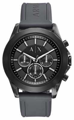 Armani Exchange Gents Drexler Black Rubber Watch AX2609
