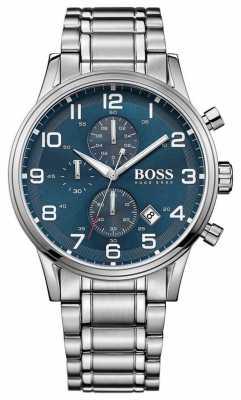 Hugo Boss Mens Aeroliner Chronograph Stainless Steel Blue Dial 1513183