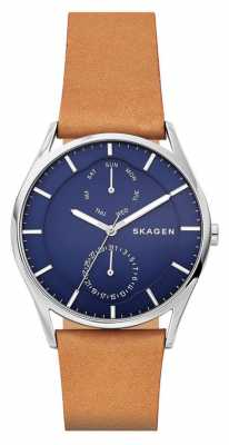 Skagen Mens Holst Day Date Tan Leather Strap SKW6369