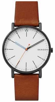 Skagen Mens Signatur Brown Leather Strap White Dial SKW6374
