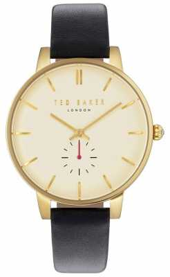 Ted Baker Womans Olivia 40mm Gold Case Black Leather Strap TE10031536