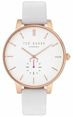Ted Baker Womans Olivia 40mm Rose Gold Case White Leather Strap TE10031539