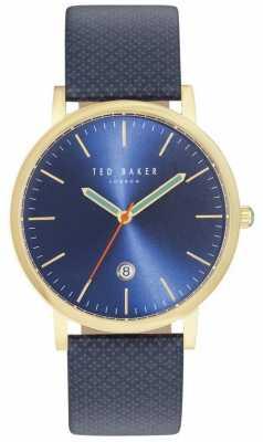 Ted Baker Mens Graham Patterned Blue Leather Strap TE10031494