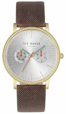 Ted Baker Mens Brit 40mm Silver Dial Brown Fabric Strap TE10031497