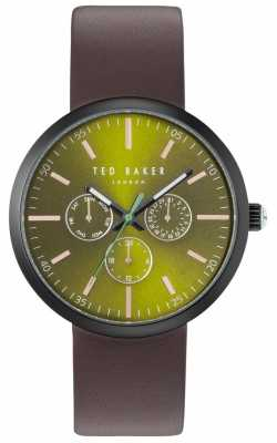 Ted Baker Mens Jack Green Chronograph Dial Brown Leather Strap TE10031502