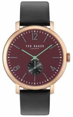 Ted Baker Mens Oliver 42mm Black Strap Rose Gold Case TE10031516