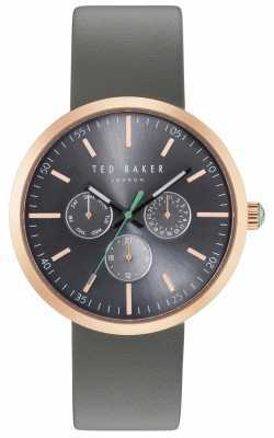 Ted Baker Mens Jack Grey Chronograph Dial Grey Leather Strap TE10031503