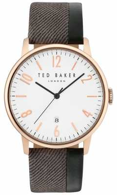 Ted Baker Mens Daniel Two Tone Leather Strap White Dial TE10031572