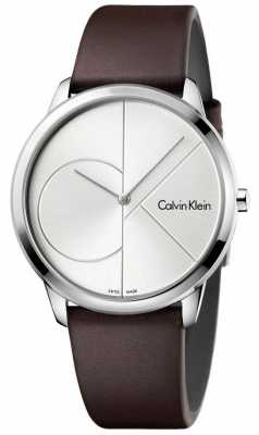 Calvin Klein Mens Minimal Brown Leather Strap Silver Dial K3M211G6