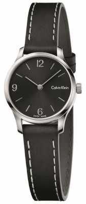 Calvin Klein Womans Endless Black Leather Strap Black Dial K7V231C1