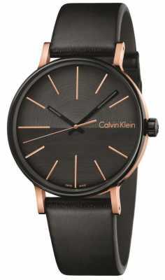 Calvin Klein Mens Boost Black Leather Rose Gold Indices K7Y21TCZ