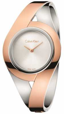 Calvin Klein Womans Sensual Two Tone Stainless Steel Bangle Silver Dial M K8E2M1Z6