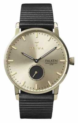 Triwa Unisex Falken Black Leather Strap Gold Dial FAST107-WC010117