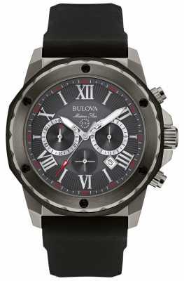 Bulova Mens Marine Star Black Silicone Chronograph Watch 98B259